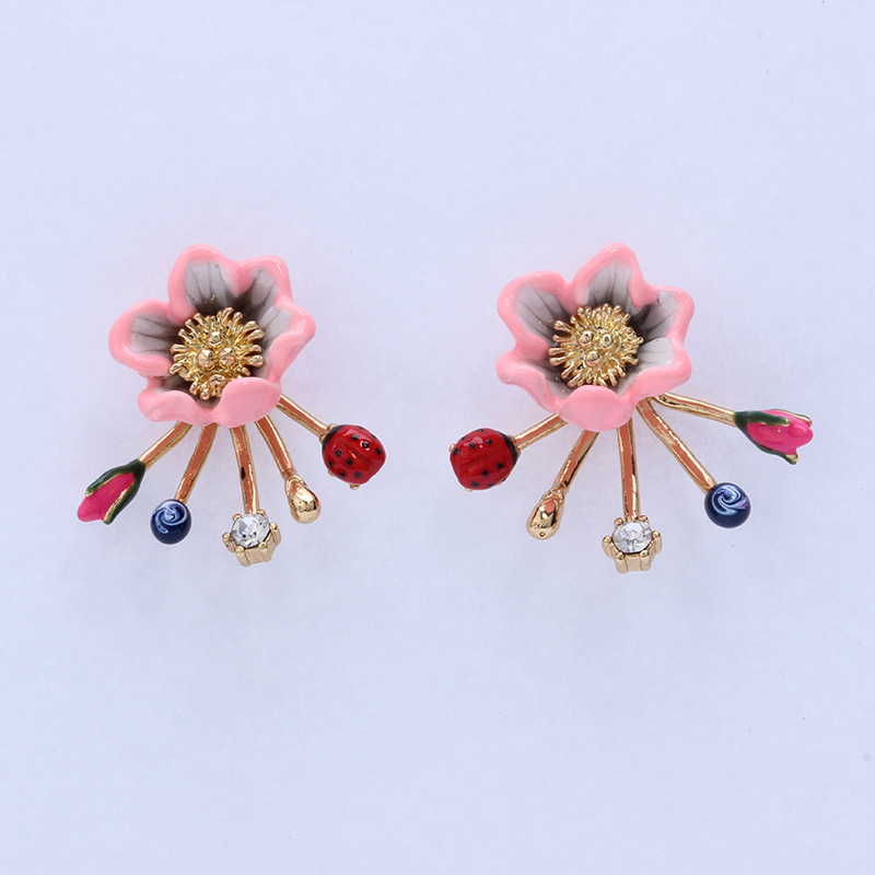 Dyxytwe fashion rose flower and animal gem stud earrings Enamel glaze design earrings lg g5 se h845 pink
