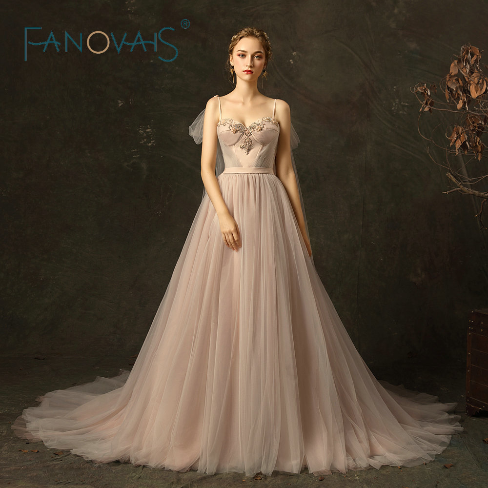 Tulle Wedding Dress with Detachable Ribbons Princess Beach Boho Wedding Dresses Vestidos De Novia 2018 Robe De Soiree
