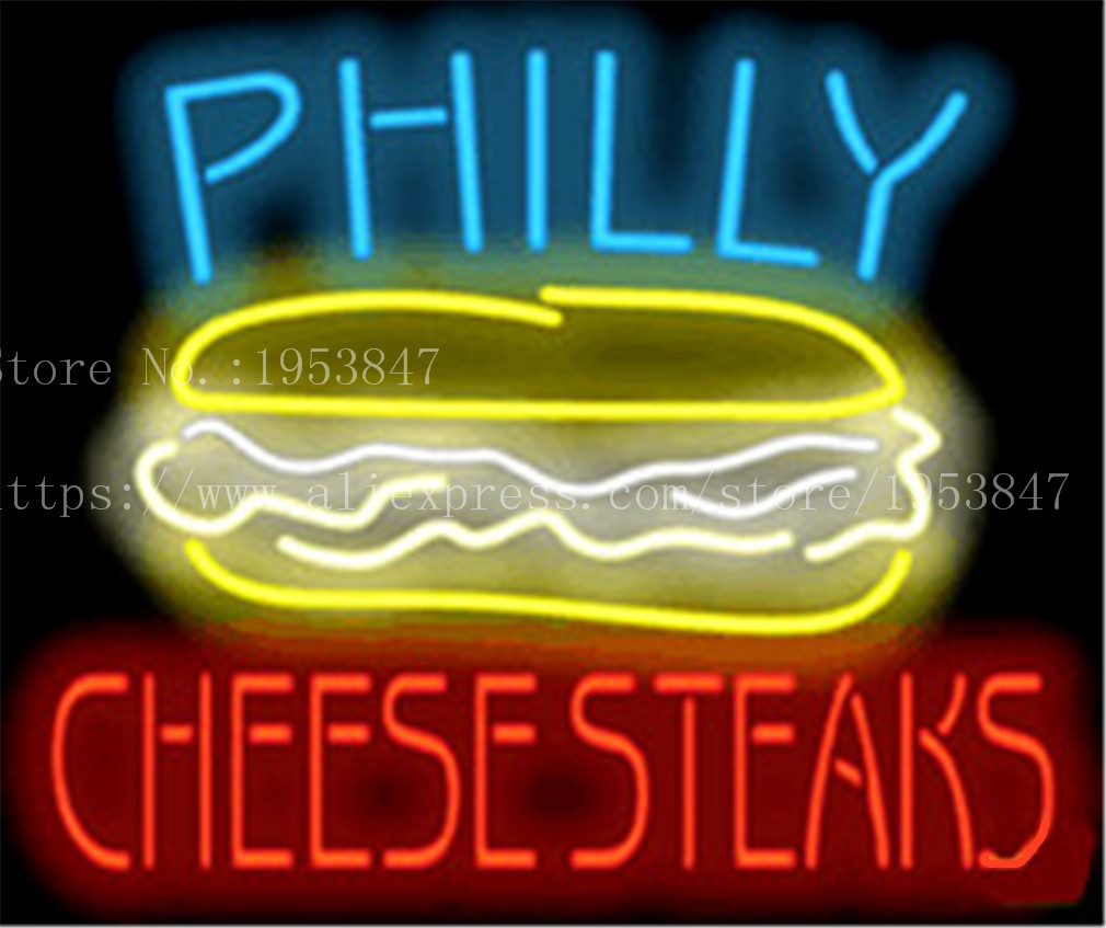 Philly Cheesesteaks Neon sign Real Glass Tube Bulbs Light Bar Beer Club Decoration Signboard drink Deli Shop Store 19x15 image