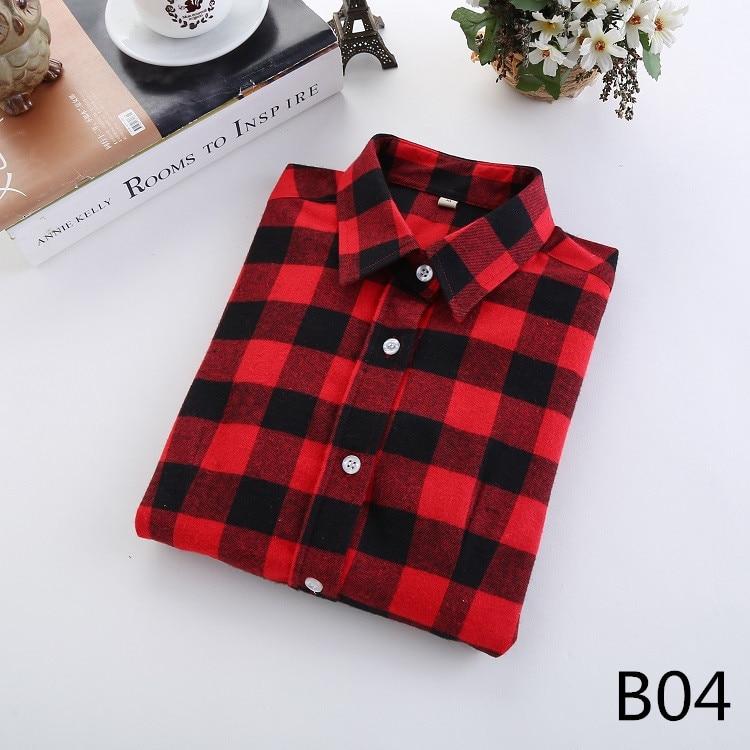 2018 Fashion Plaid Shirt Female College Style Women's Blouses Long Sleeve Flannel Shirt Plus Size Casual Blouses Shirts M-5XL 8