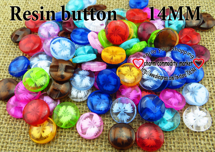 100PCS 14MM colors flower pattern Dyed RESIN buttons coat boots sewing clothes accessori ...