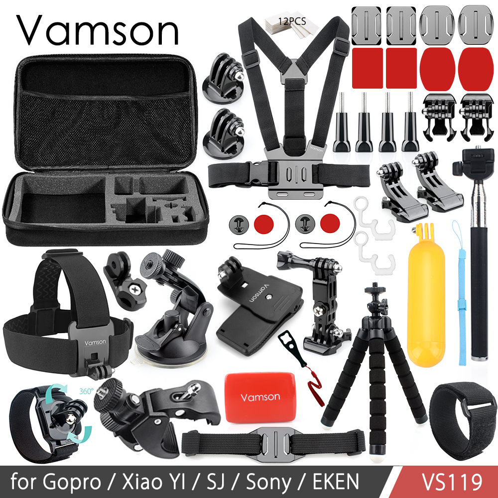 Vamson Accessories for Go Pro Set 3 Way Mount Base Collection Box Adapter for Gopro Hero 6 5 4 3+ for Xiaomi Yi for SJ4000 VS119 new gopro accessories shockproof waterproof collection double box hard bag tools storage hero 4 3 3 2 1 sj4000 sj5000 sj6000