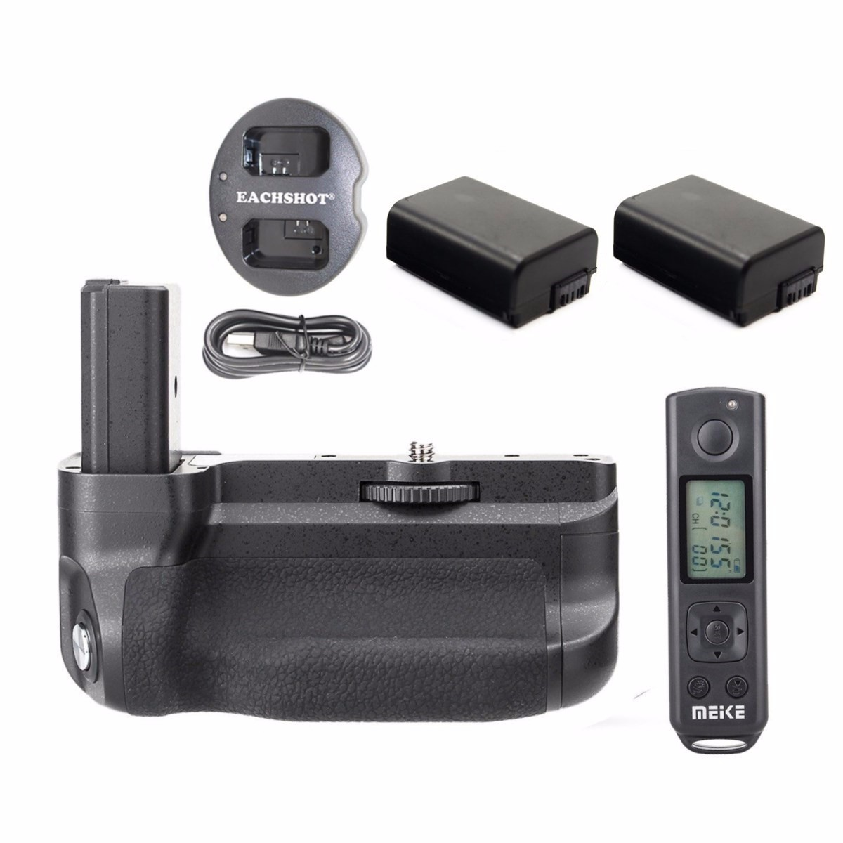 Meike MK-A6300 Pro 2.4G Wireless Control Battery Grip For Sony A6300 + 2* NP-FW50 batteries + dual charger meike mk ar7 built in 2 4g wireless control battery grip for sony a7 a7r a7s
