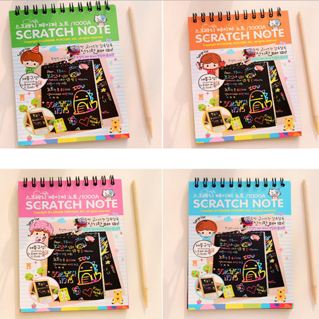 1 Book Colorful Dazzle Scratch Note Sketchbook Paper Graffiti DIY Coils Drawing Book Toys Children Drawing Book Color Random