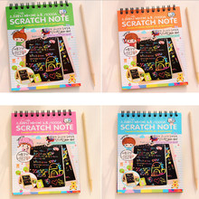 1 Book Colorful Dazzle Scratch Note Sketchbook Paper Graffiti DIY Coils Drawing Book Toys Children Drawing Book Color Random(China)