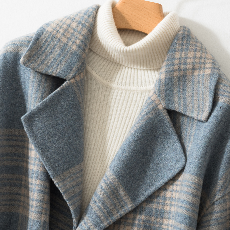 Vestes Laine Femmes Double Mode Manteau Drop light Blue Épaule navy Outwear Printemps Casual face Black Tissu Smpevrg Automne Manteaux w6tpY6q