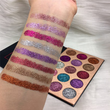15 Color Glitterinjections Pressed Glitter Eyeshadow Diamond Rainbow Make Up Cosmetic Pressed Glitters Eye shadow Magnet Palette