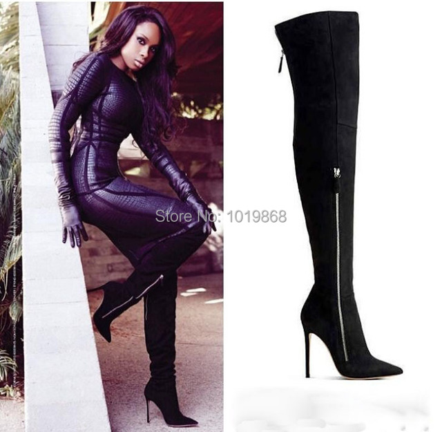 48968fdca91 Jennifer Hudson wearing Black Suede Boots Side Zipper Over The Knee Tight  High Boots Discount Christmas