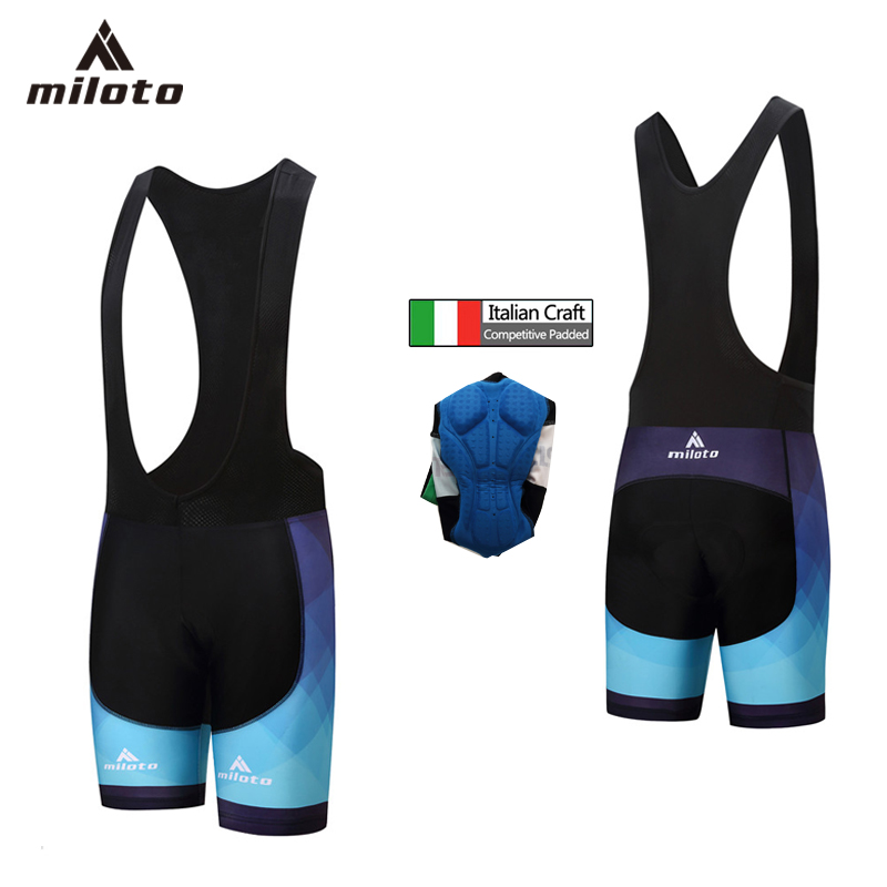 Miloto Men/'s Padded Biking Bib Shorts Spandex Bicycle Bike Bib Tights Black