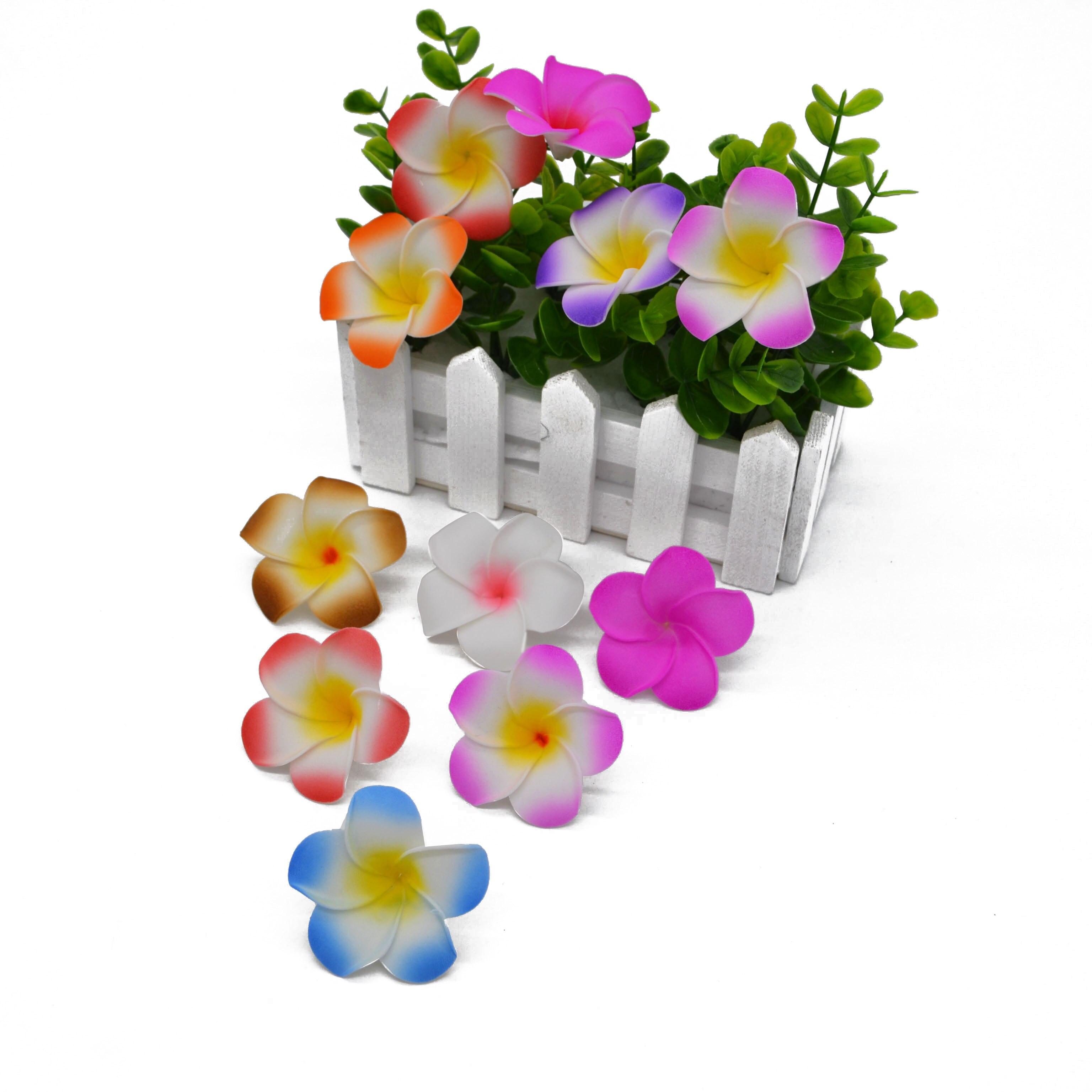 20pcs Plumeria Hawaiian Foam Frangipani Flower Artificial Silk Fake