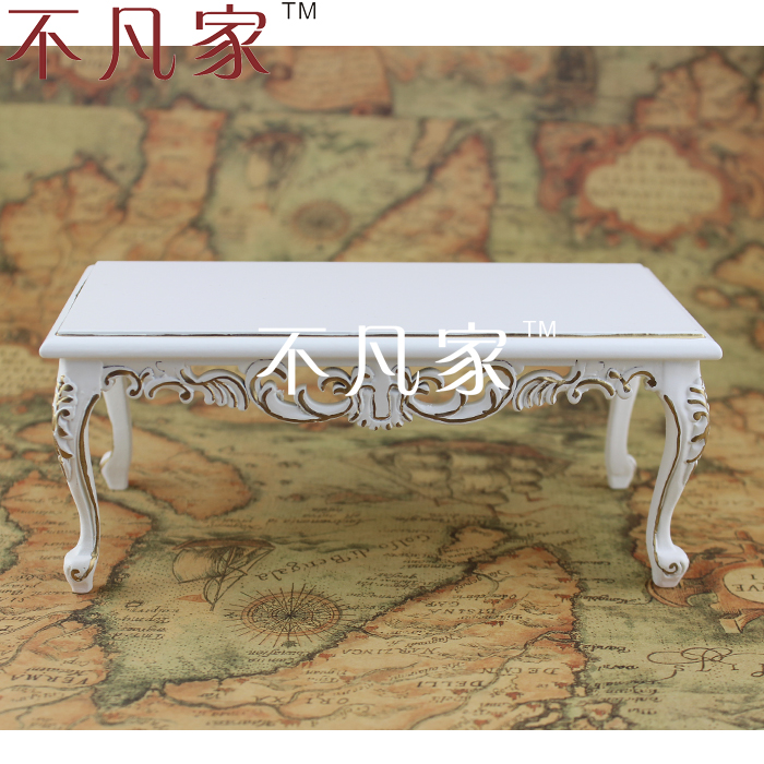 BJD 1:6 DOLL miniature furniture handmade white painted in gold table
