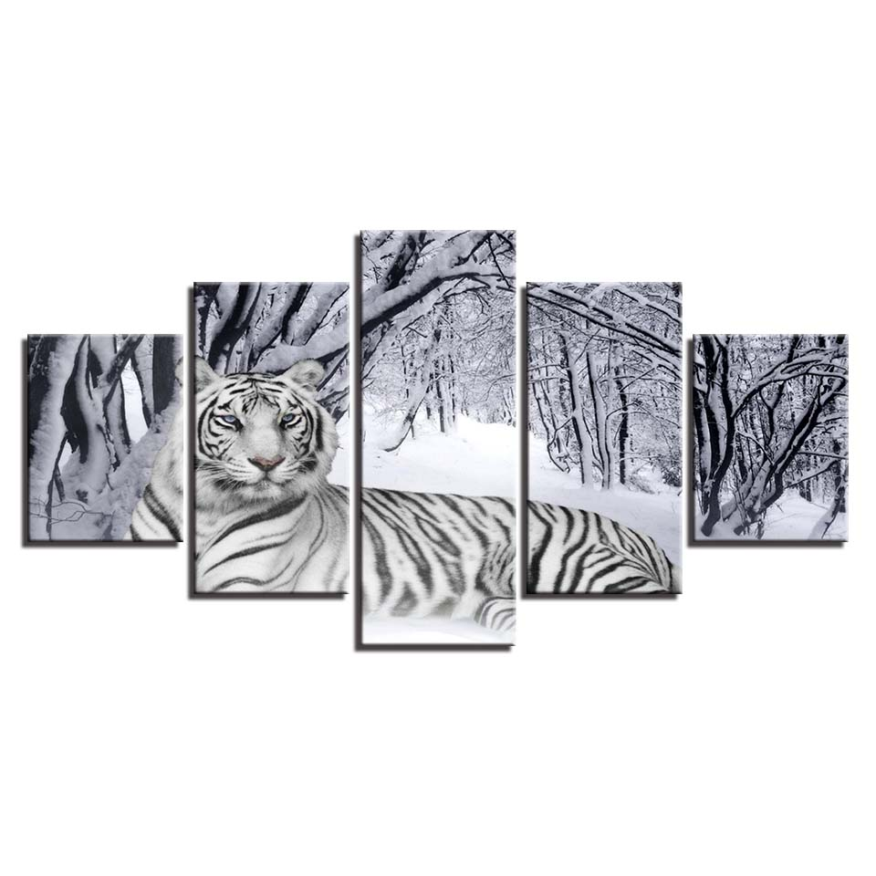 HD Prints Canvas Painting Home Decoration Animal Tiger 5 Pieces Wall Art For Living Room Bedroom Modular Pictures Artwork Poster in Painting Calligraphy from Home Garden