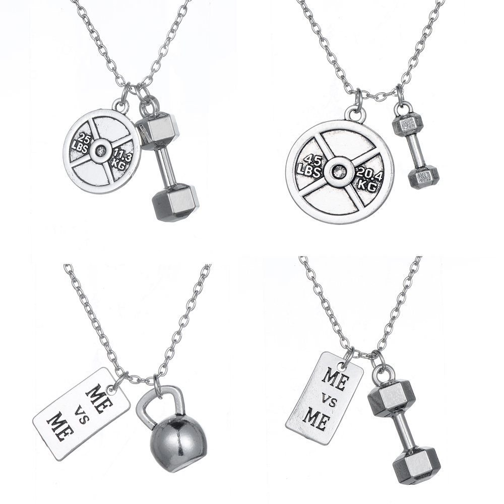 Skyrim Fitness necklace men Dumbbell Kettlebell Me & Me Fitness Bodybuilding Gym Jewelry Necklace for Men Best Friend Gift