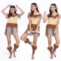The New Primitive Troglodyte Halloween Costume Adult Female African Leopard Dress Cosplay Stage Costumes
