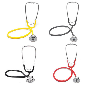 Profesjonalny stetoskop pomoc stetoskop jednogłowy przenośny sprzęt medyczny dla lekarza urządzenie do osłuchiwania narzędzie DC88 tanie i dobre opinie Breathleshades Stethoscope Black Gray Red Yellow 100g PVC+Aluminum 47mm 30*20*5CM 1 pc