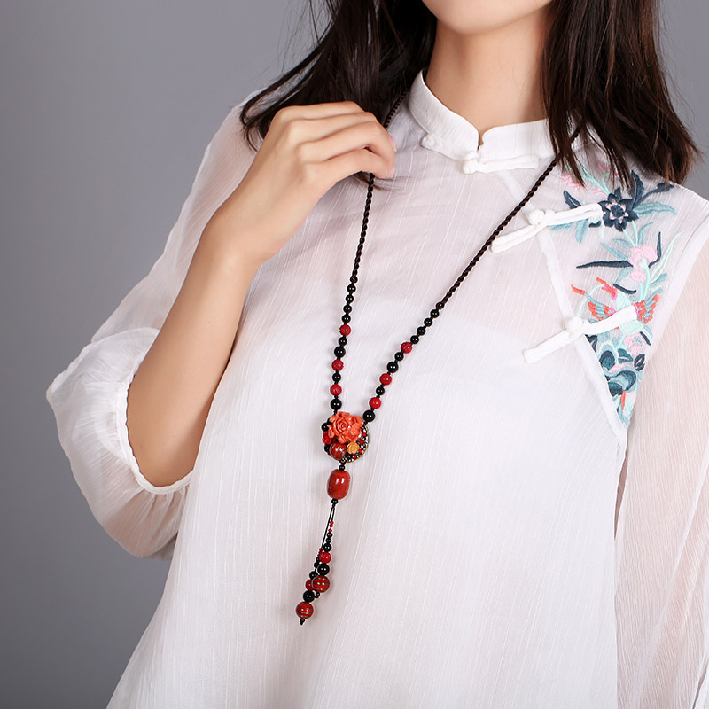 Sweater chain long paragraph  simple atmosphere minimalistic autumn and winter red retro necklace ethnic style jewelry femaleSweater chain long paragraph  simple atmosphere minimalistic autumn and winter red retro necklace ethnic style jewelry female