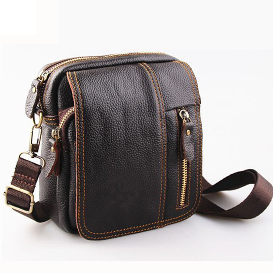 first layer of cow leather man bag small genuine leather men messenger bags brand men shoulder bag men crossbody travel bags bag female new genuine leather handbags first layer of leather shoulder bag korean zipper small square bag mobile messenger bags