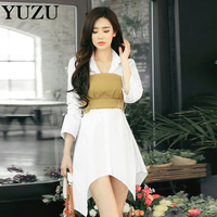 White Shirt Dress Women Autumn Irregular Hem Cotton Long Sleeve Two Piece Dress With Beige Belt