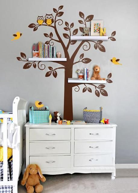 wall shelf tree, nursery wall decals, decorative wall shelves modern