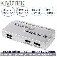 4 К/60 Гц 3D 1x2 HDMI2.0V Splitter Box HDR 2 Порты HDMI разъем Выход AC3/DSD, мощность адаптер для HDTV Дисплей Бесплатная доставка