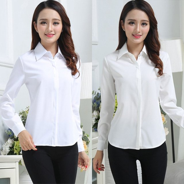 Camisa blanca de manga larga de primavera y otoño para mujer, camisa informal de gasa para mujer, ropa de trabajo delgada, blusa para mujer, Tops DR4