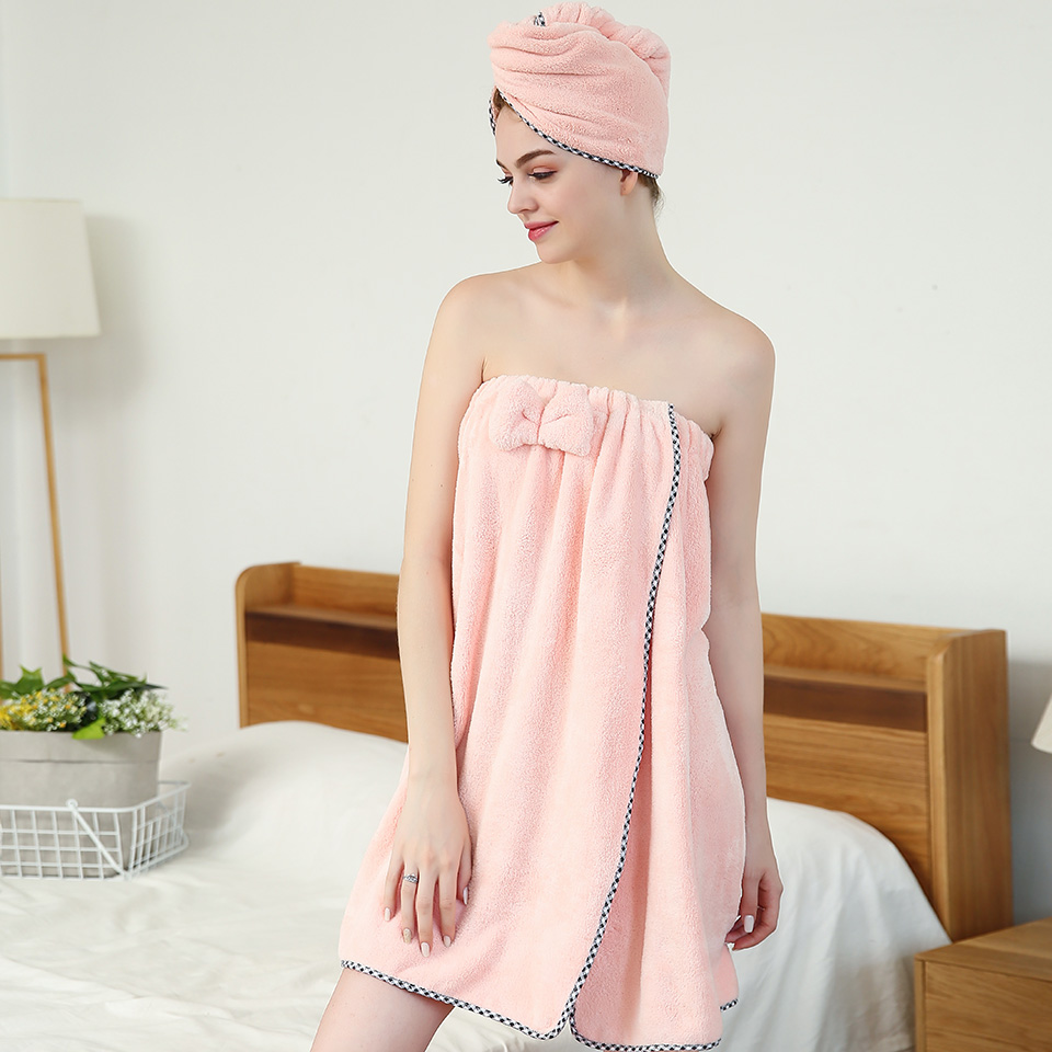 SINSNAN Women Bathroom Microfiber Soft Thick Bath Towel Bath Robe Dry Hair Towel Set Super Absorbent Wearable Shower Beach Towel