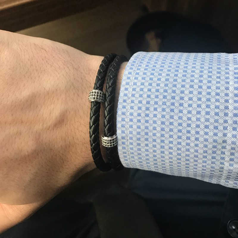 Mcilroy męskie bransoletki ze stali nierdzewnej czarna skórzana bransoletka nadgarstek bransoletka w stylu Punk biżuteria zapięcie magnetyczne 2018