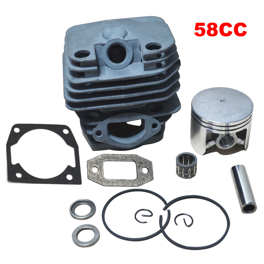 Cylinder Bore 45.2MM 58CC 5800 Gasoline Chainsaw Cylinder Piston Kit with Muffler Cylinder Gasket and Needle Bearing  45 2mm cylinder piston gasket assy chinese 5800 58cc chainsaw engine rebuilt kit