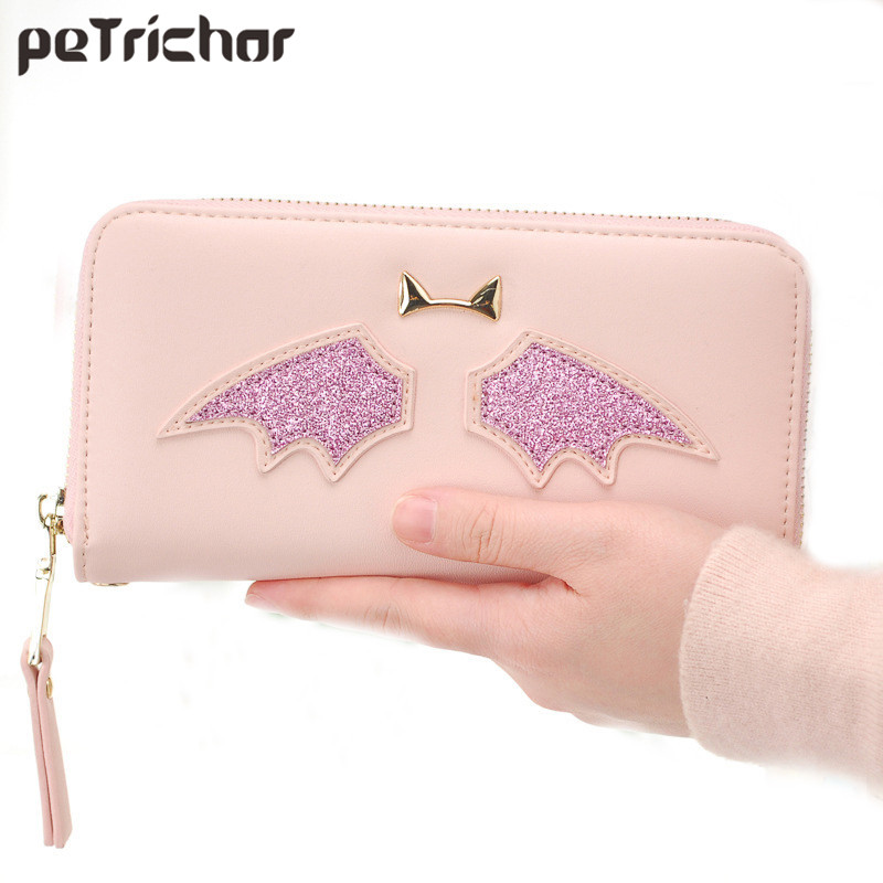 Women Cute  Long Wallet Zipper Solid Female PU Leather Wallets with Coin Pocket Lady Women Bags Brand Card Holder billetera sailor moon