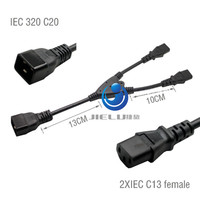 C20 2x13 Power Cord Server UPS Power Cable,32CM ,High Quality IEC 320 C20 Male to 2xC13 Female Y Splitter Cable ,10 pcs