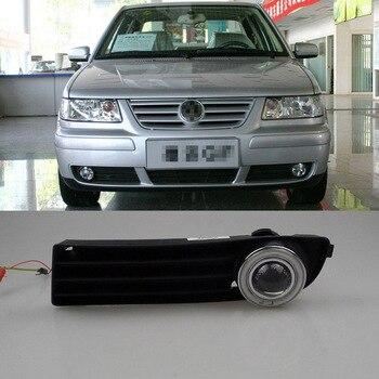 Ownsun COB Angel Eye Rings Projector Lens with 3000K Halogen Lamp Source Black Fog Lights Bumper Cover For VW Jetta 2004-2008