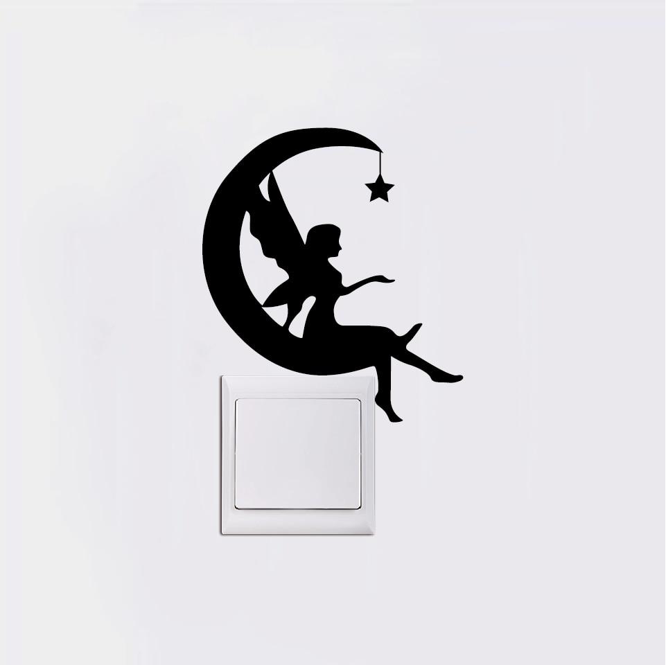 Bulan Peri Sakelar Stiker Bulan Sabit Silhouette Dinding Stiker