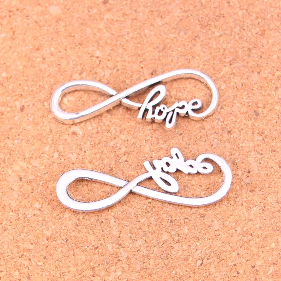15pcs Tibetan Silver Plated Infinity Symbol Hope Charms Pendants For Necklace Bracelet Jewelry Making Diy Handmade 39 15mm In From