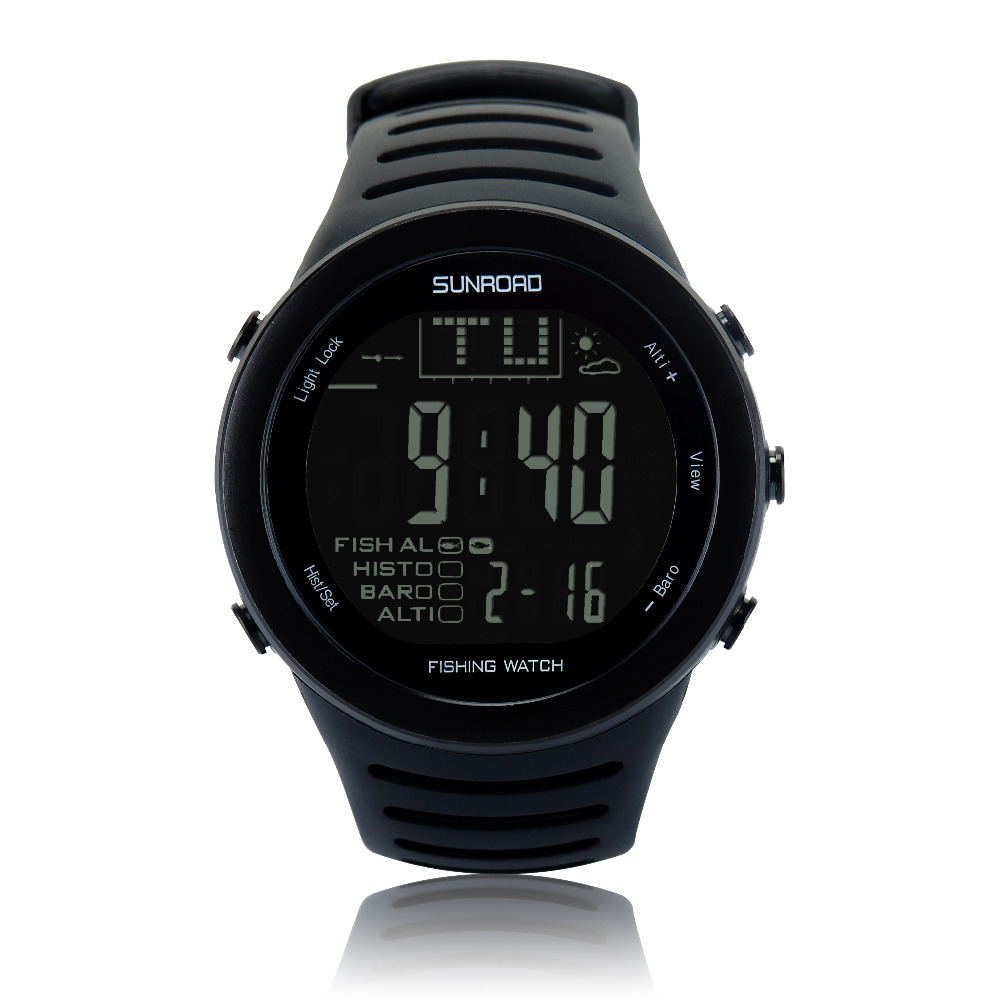 SUNROAD Men's Sports Digital Watches-Altimeter Thermometer Weather Forecast Temperature Stopwatch Barometer Watches (Black)(China)
