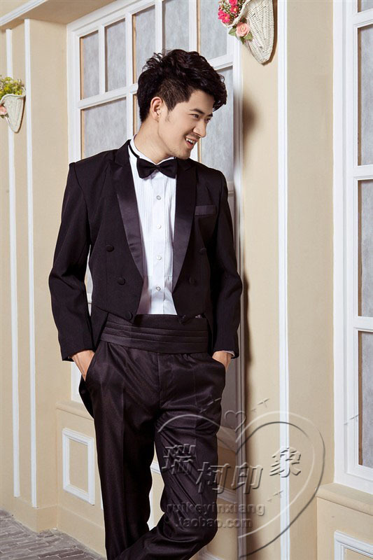 2015 new arrival fashion men suits groomsmen tuxedo costume magician ...