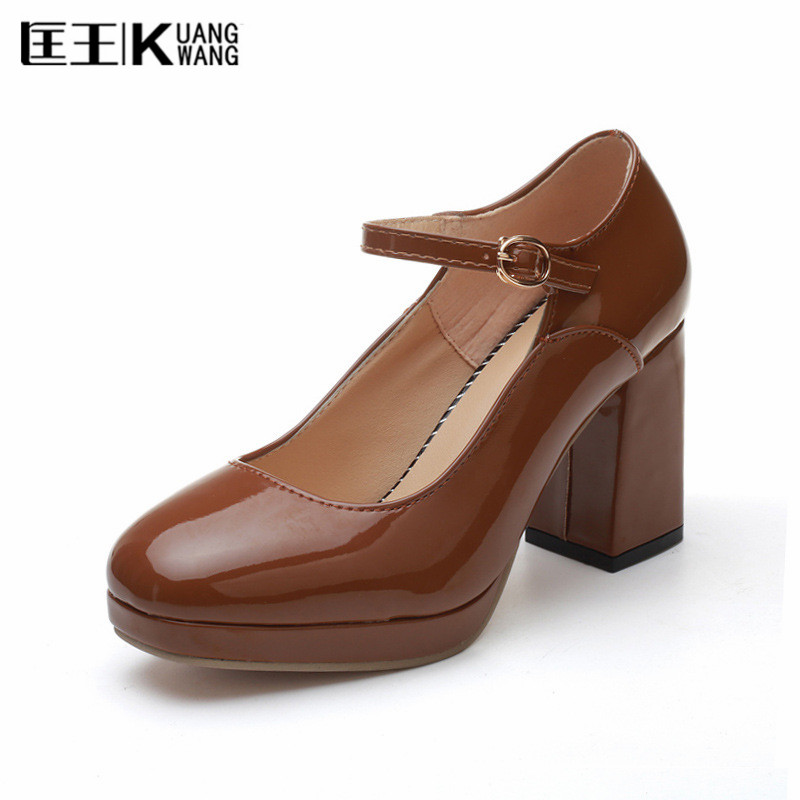 Women Pumps Round Toe Thick Square Heels Shoes Woman Medium Heel Buckle Lolita Shoes Ankle Strap Shallow Mouth Platform Shoes xexy small square toe medium heels natural leather women shoe spring autumn buckle strap dance party sweet platform women pumps