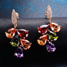 Luxury Crystal Female Water Drop Earrings Fashion Rose Gold Wedding Earrring Charm Colorful Rainbow Earrings For Women(China)