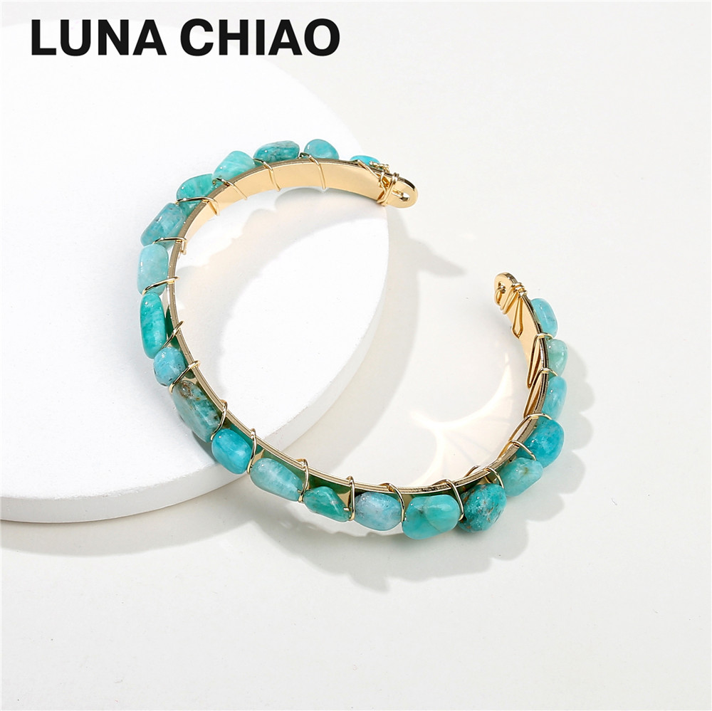 Trendy Natural Semi Precious Stone Mini Rock Wraped Brass Cooper Cuff Bangle Bracelets&Bangles for Women trendy faux crystal embellished cuff ring for women