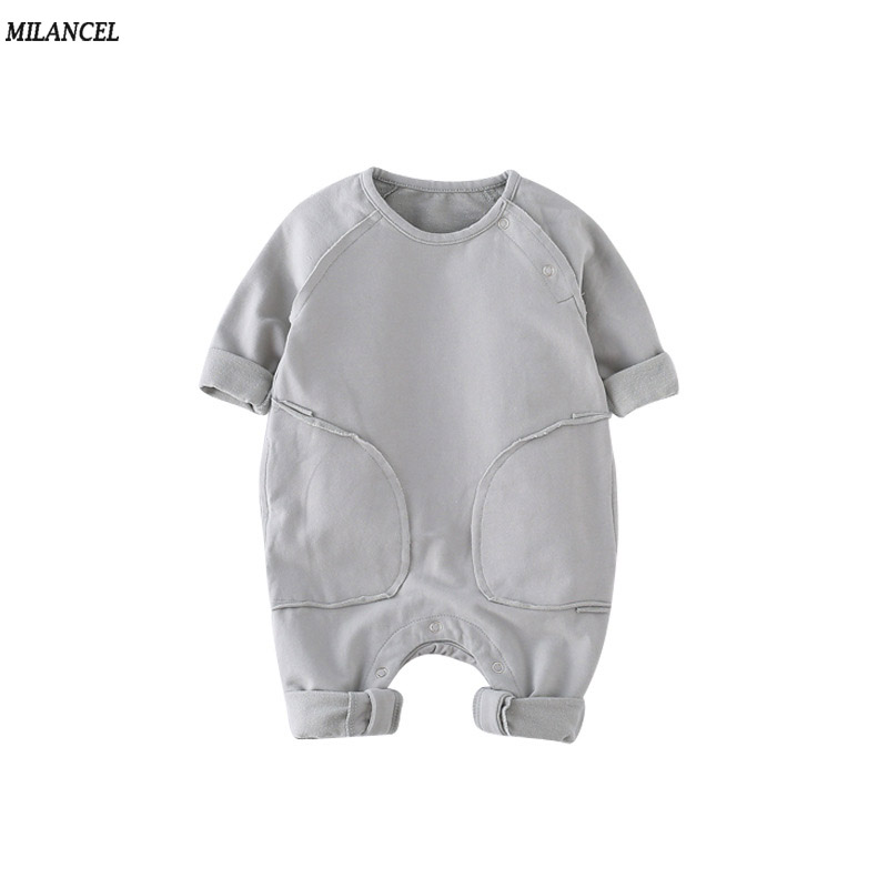 Milancel Baby Girl Boys Rompers 2017 Autumn Kids Clothing Solid Girls Romper Long Sleeve Baby Boys Jumpsuit Baby Outfit newborn baby rompers baby clothing 100% cotton infant jumpsuit ropa bebe long sleeve girl boys rompers costumes baby romper