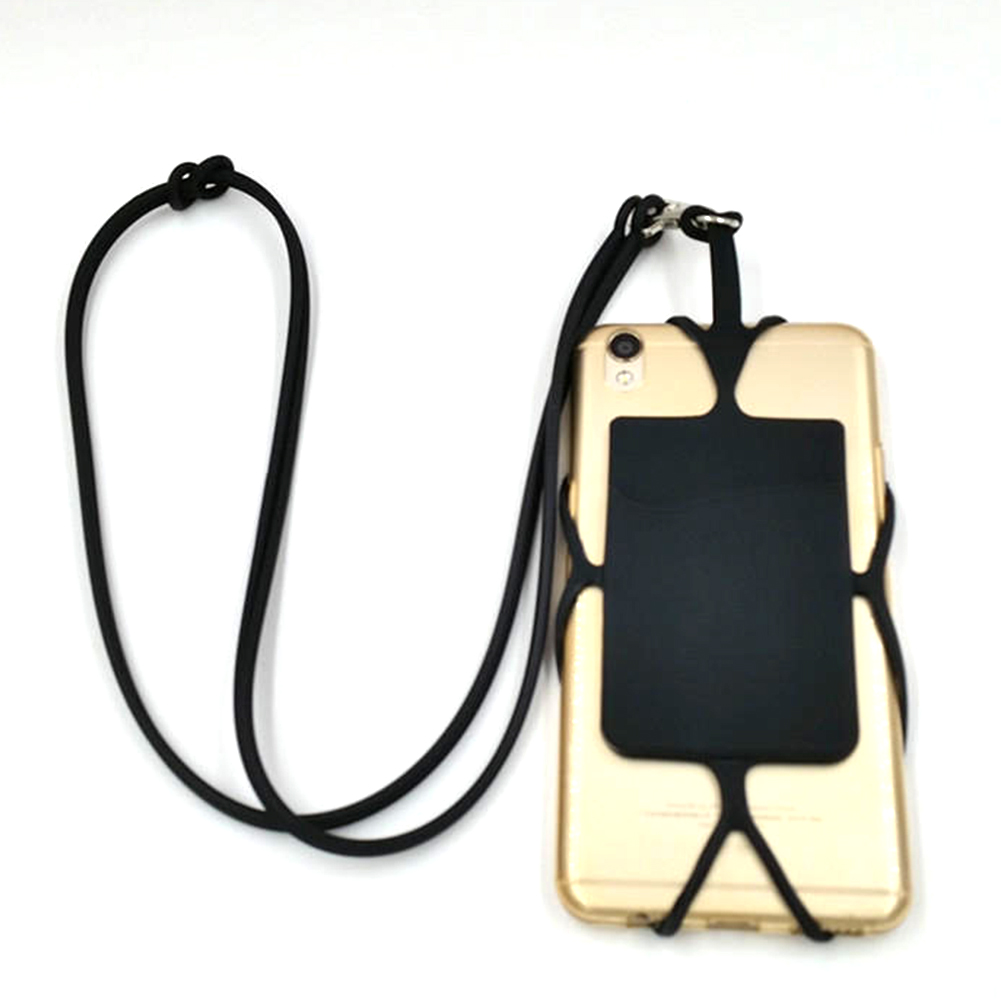 Neck Strap Universal Case Holder Stretchable Necklace DIY Phone Lanyard Fashion Hanging Smartphone With Card Pocket Silicone