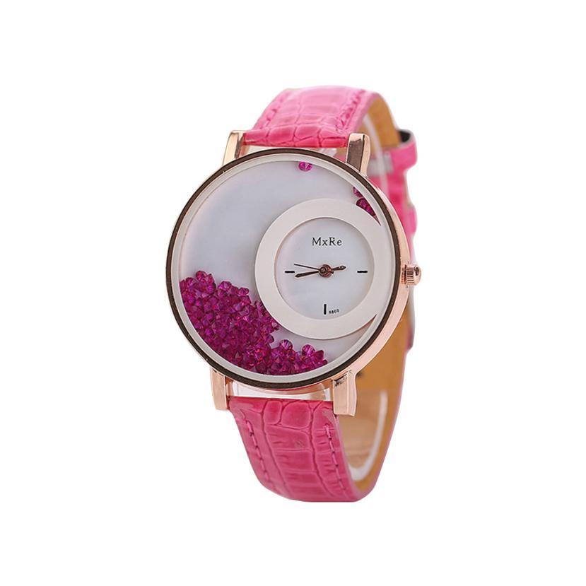 Femmes montres dames en cuir Quartz montres Quicksand strass Bracelet montre-Bracelet relogios feminino montre femme # D 4