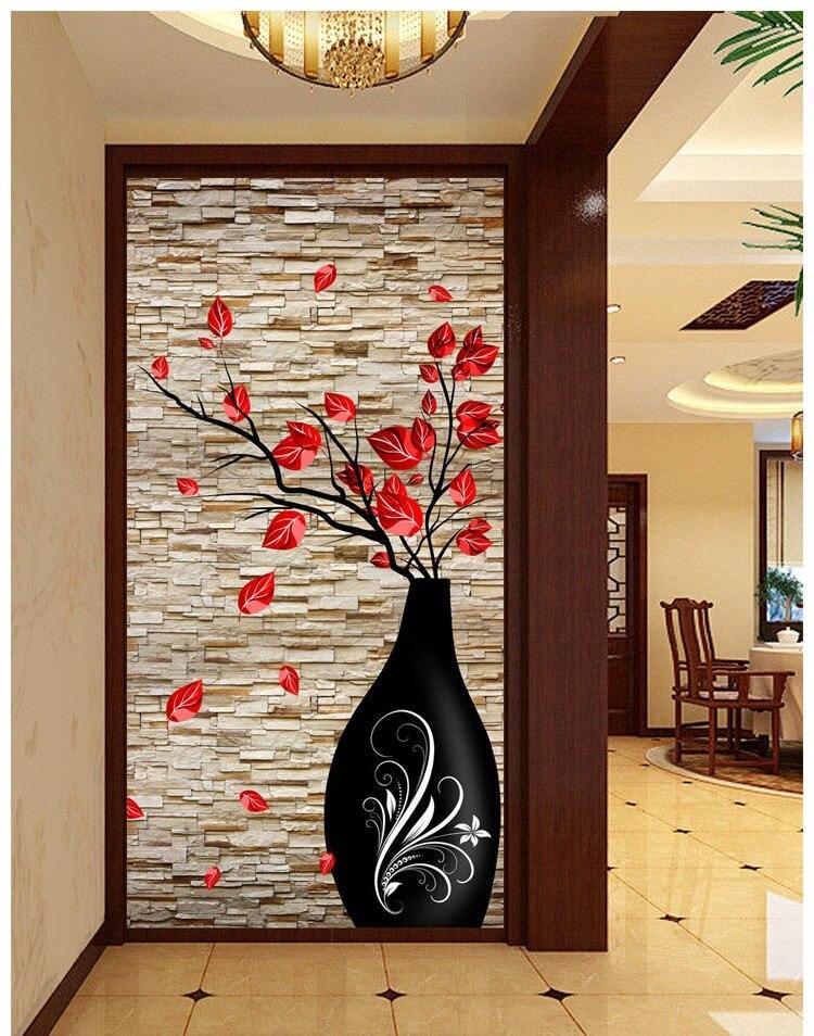 Вход обои большой росписи 3d 3D ваза Современный простой европейский проход коридор бесшовные фоне обоев живопись