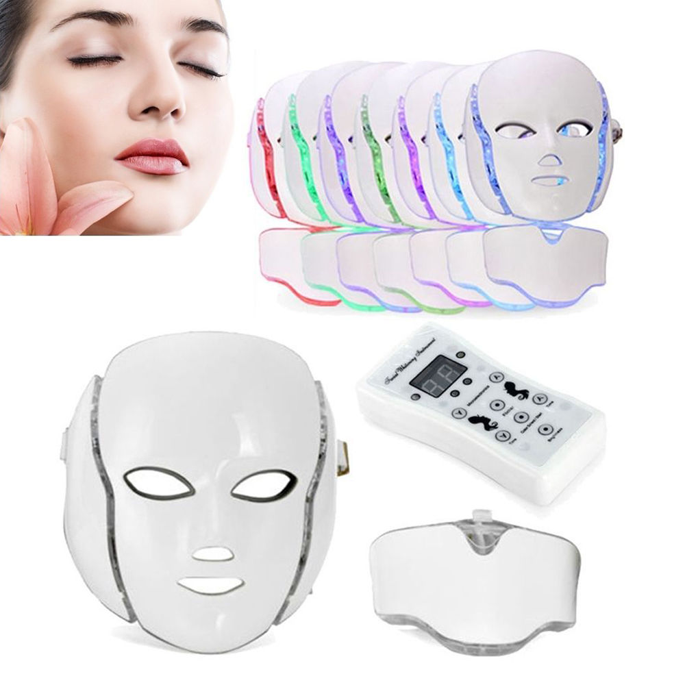 LED Light Skin Therapy Mask 7 Colors Face Skin Rejuvenation Facial Neck Mask New new led light therapy mask 7 colors skin rejuvenation led facial mask face mask beauty tool free shipping