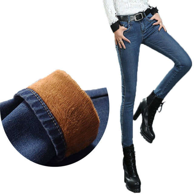 New Arrival Sexy Women Winter Plus Velvet Thickening Thermal Women Pencil Pants Denim Trousers Female Skinny Pants Plus Size