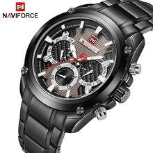 אופנה חדשה Mens שעונים Naviforce Militray ספורט קוורץ 24 שעה תאריך שעון גברים שעון מלא פלדה עמיד למים זכר שעוני יד