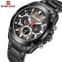 New Fashion Mens Watches Naviforce Militray Sport Quartz 24 Hour Date Clock Men Watch Full Steel Waterproof Male Wristwatches