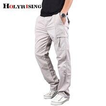 Holyrise hommes Cargo pantalon hommes 100% coton pantalon armée militaire pantalon coton Multi poches Stretch homme pantalon décontracté 18670 5