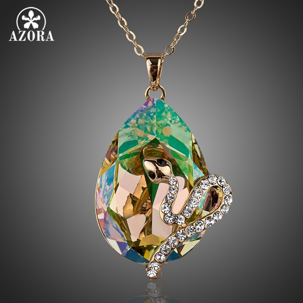 AZORA Poisonous Snakes Gold Color Big Ellipse Stellux Austrian Crystal Pendant Necklace TN0057