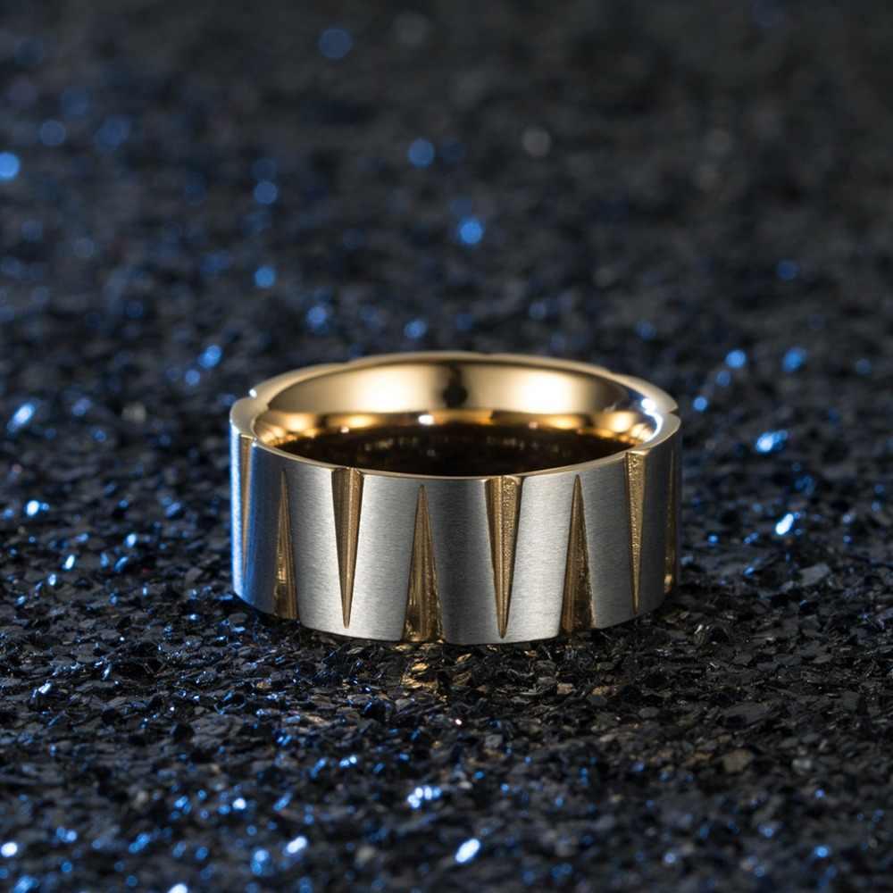 สีสัน Brushed แหวนเครื่องประดับบุคลิกภาพเครื่องประดับแฟชั่น TITANIUM STEEL Men's Tapered แหวนสามเหลี่ยม Rhombus แหวน