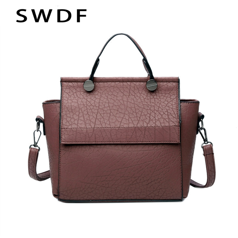 SWDF New Arrival Vintage Trapeze Tote Women Leather Handbags Ladies Party Shoulder Bags Fashion Top-Handle Bags Bolsos Mujer hot new arrival vintage tote bag women leather handbags ladies party shoulder bags fashion top handle bags ladies cute bear drop
